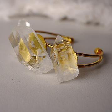Chunky Clear Quartz One-of-a-kind Bracelet on Gold